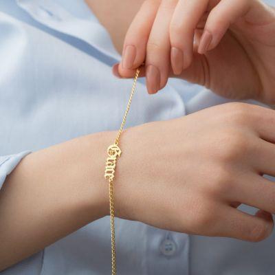"Custom Old English Name Bracelet Adjustable 6""-7.5"""