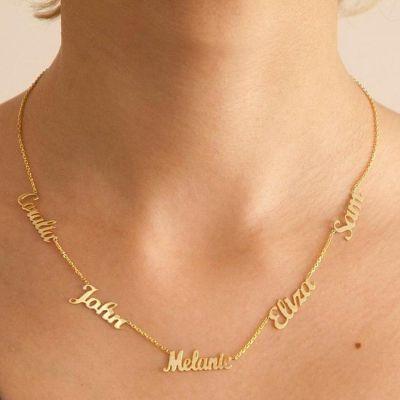 "Custom Multiple Name Necklace Adjustable 16""-20"""