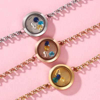 Custom Locket Bracelet with Birthstones