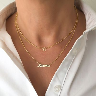 "Custom Layered Name Necklace Adjustable 16""-20"""