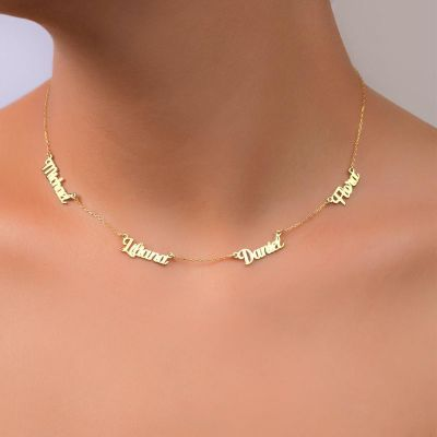 """Personalized Multiple Name Necklace Adjustable 16""""-20"""""""