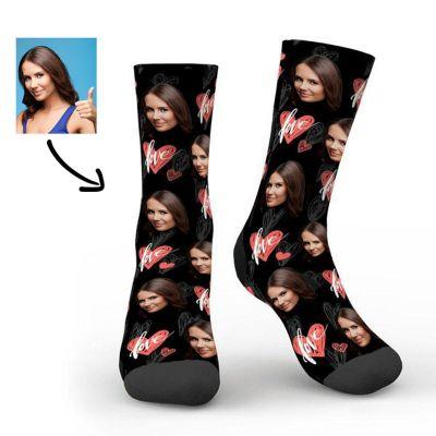 Custom Heartbeat Photo Socks