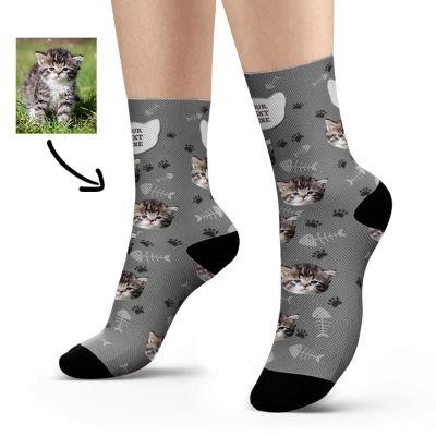 Custom Cat Name and Photo Socks