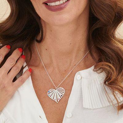 """Custom Heart Multi Name & Birthstone Necklace Adjustable 16""""-20"""""""