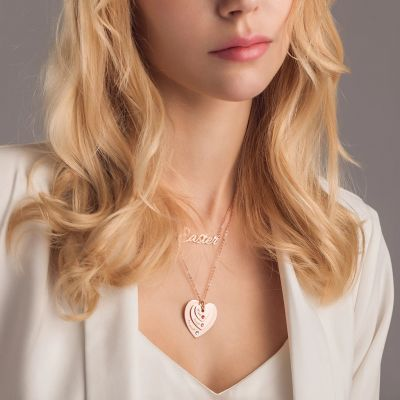 """Custom Heart Shaped Name Necklace with Birthstone Adjustable 16""""-20"""""""