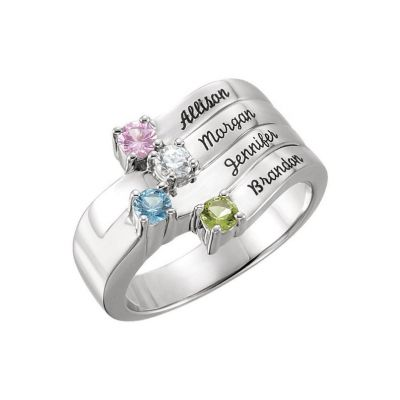 Custom Family Name Ring with Birthstone