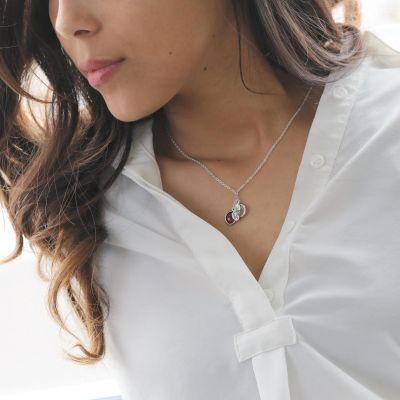 Family Birthstone Necklace Custom Leaf Letter Pendant Chain Adjustable 16