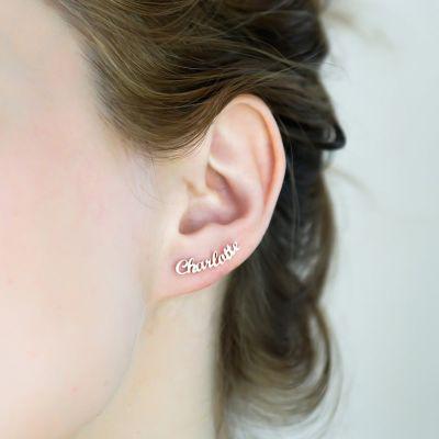 Custom Name Minimalist Earrings