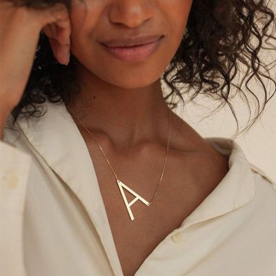 Sideways Large Initial Letter Necklace Adjustable Chain 16