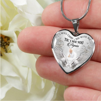 """Custom Photo Memorial Necklace I will carry you with me 16""""-20"""""""