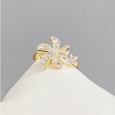 Windmill Ring Open Adjustable Rotating Ring with Shiny Zircon