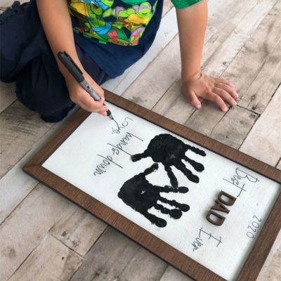 Best DAD/PAPA Ever Hands Down Kids Hand Print DIY Gift | 15*9 Inches