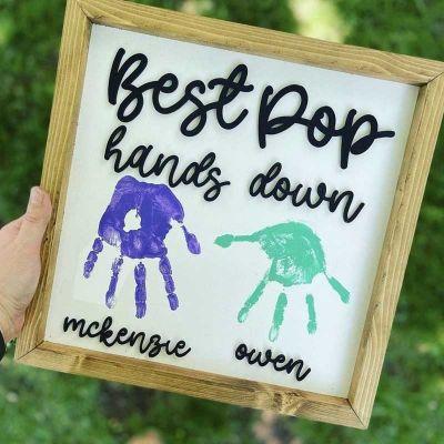 Best Daddy Hands Down Kids Handprint Frame