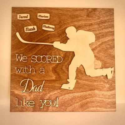 Wood Engraved Personalized Hockey Plaque Gift for Dad