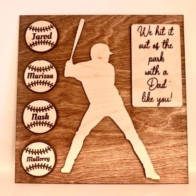 Wood Engraved Personalized Baseball Plaque Gift for Dad