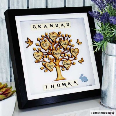 Scrabble Family Tree Picture White Frame