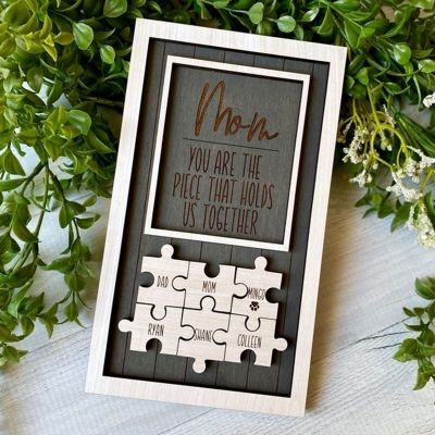 Personalized Name Puzzle White Frame - You Are The Piece That Holds Us Together |15*10 Inches