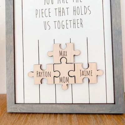 Personalized Name Puzzle Gray Frame - You Are The Piece That Holds Us Together | 15*10 Inches