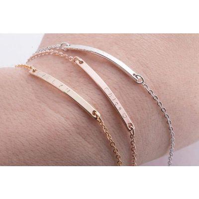 """Personalized Bar Engraved Bracelet Adjustable 6""""-7.5"""""""