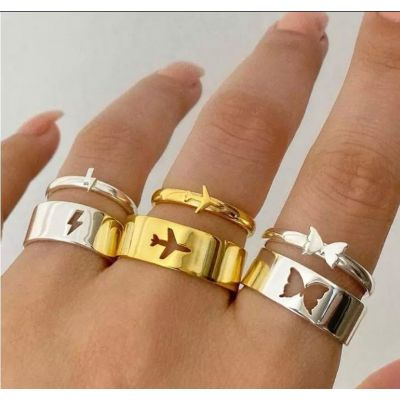 2Pcs Airplane Rings Couple Ring Set Promise Matching Friendship 18K Gold Plated Adjustable