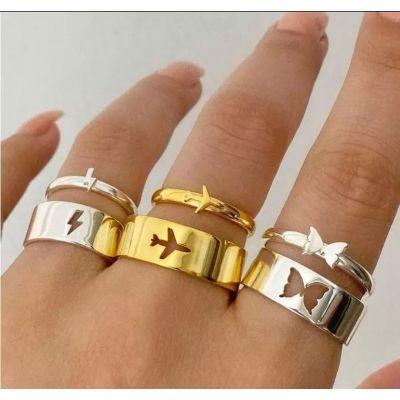 2Pcs Lightning Rings Couple Ring Set Promise Matching Friendship 18K Gold Plated Adjustable