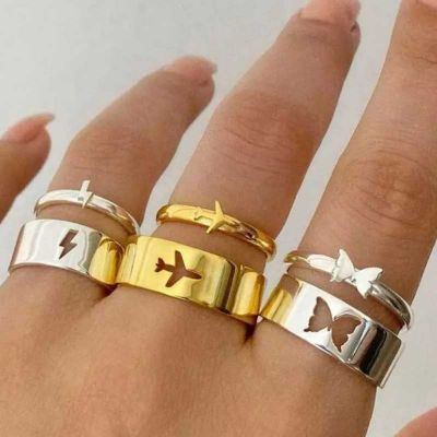 2Pcs Butterfly Rings Couple Ring Set Promise Matching Friendship 18K Gold Plated Adjustable
