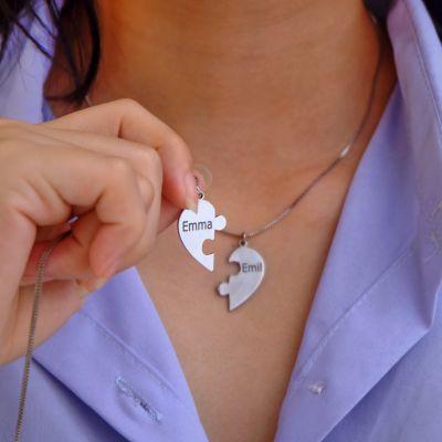 "Puzzle Piece Heart Pendants Necklace Family Love/Friendship Jewelry Set Adjustable 16""-20"""