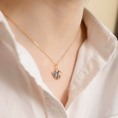 Ocean Clownfish Necklace 925 Sterling Silver With Cubic Zirconia