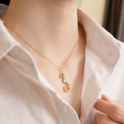 Ocean Seahorse Necklace 925 Sterling Silver With Cubic Zirconia