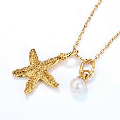 Ocean Starfish&Pearl Necklace 925 Sterling Silver Cubic Zirconia