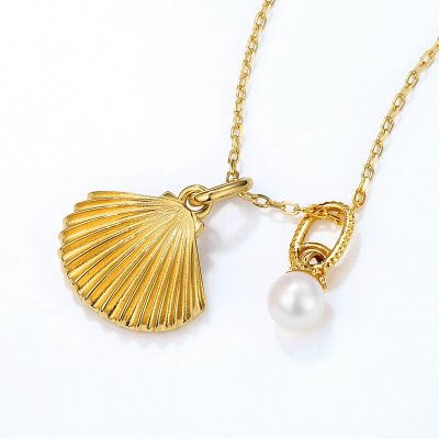 Ocean Shell&Pearl Necklace 925 Sterling Silver Cubic Zirconia