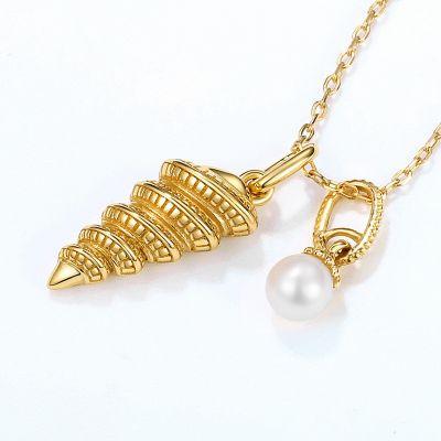 Ocean Conch&Pearl Necklace 925 Sterling Silver Cubic Zirconia