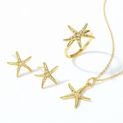 StarFish Ear Studs 925 sterling silver with CZ
