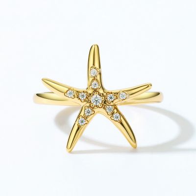 StarFish Ring 925 sterling silver with CZ